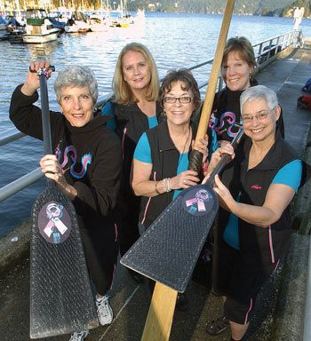 Members of the newly formed North Shore Dragon Busters, Gail Miles (left), Leanne Jacobsen, Susan McMinn, Barb Wallace and Louise Moreau, gear up for a practice in Deep cove. NEWS photo Paul McGrath